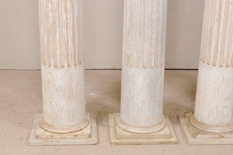 Set of Four 10.5 Ft. Tall Mid-20th Century Greek Doric Style Fluted Columns For Sale 1