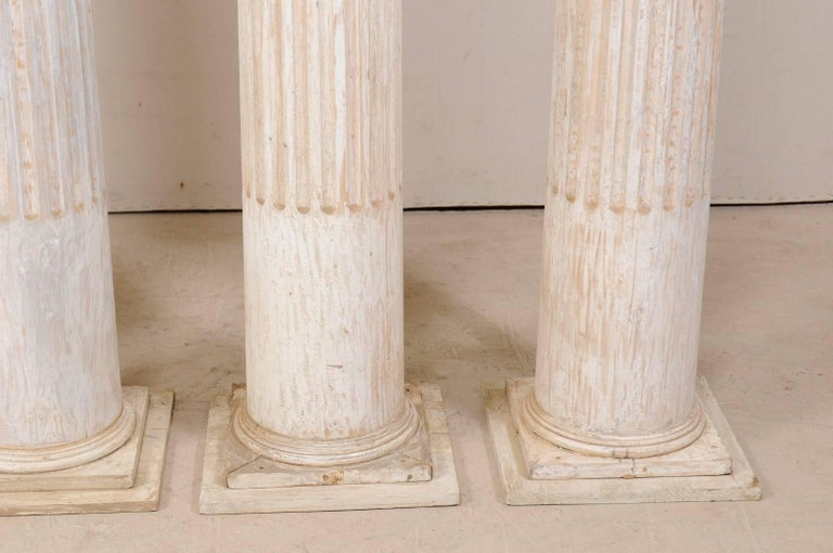 Set of Four 10.5 Ft. Tall Mid-20th Century Greek Doric Style Fluted Columns For Sale 2