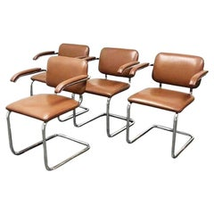Set of Four Tanned Cognac Marcel Breuer Cesca Dining Chairs