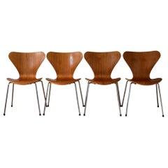 Set of Four Teak 3107 Dining Chairs by Arne Jacobsen for Fritz Hansen Denmark