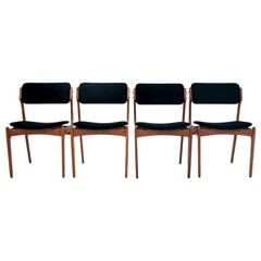 Set of Four Teak Chairs Danish Designed by Erik Buch, Model 49