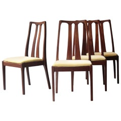 Modern Set of Four Teak Yellow Velvet Chairs. United Kingdom, 1970