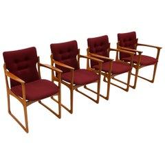 Set of Four Teak Dining Chairs by Vamdrup Stolefabrik, Denmark, All Armchairs