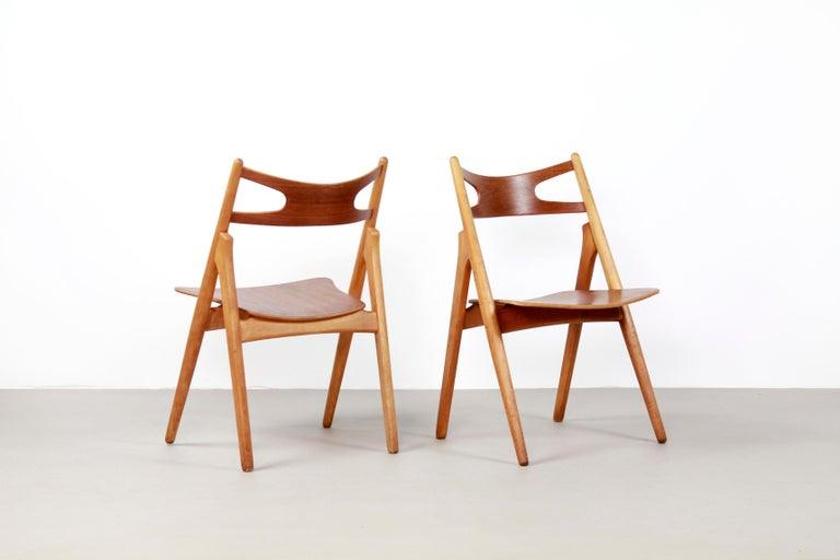 Beech Set of Four Teak Hans J Wegner Sawbuck Model CH29 Chairs by Carl Hansen For Sale
