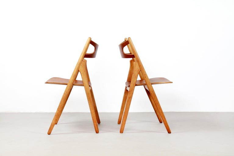 Set of Four Teak Hans J Wegner Sawbuck Model CH29 Chairs by Carl Hansen For Sale 1