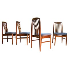 Set of Four Teak High-Back Danish Dining Chairs by Benny Linden, 1960s