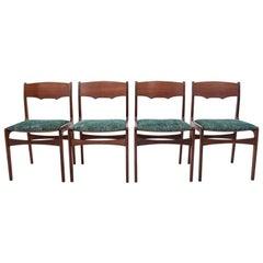 Set of Four Teak Vintage Chairs, Danish Retro Design, 1950s