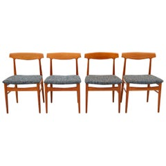 Set of Four Teak Wood Dining Chairs Mod. 60 by Henning Kjaernulf, 1960s