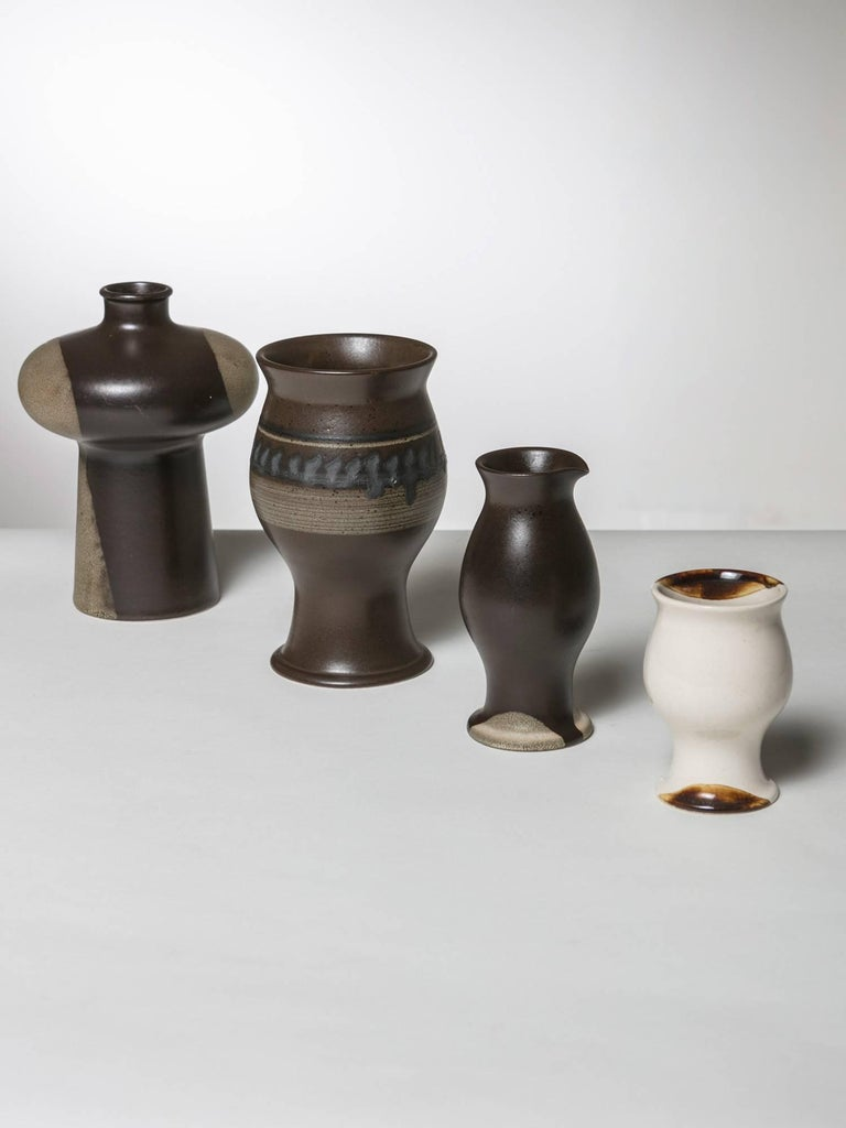 Set of four pieces from Terra collection by Ambrogio Pozzi for Ceramica Franco Pozzi.