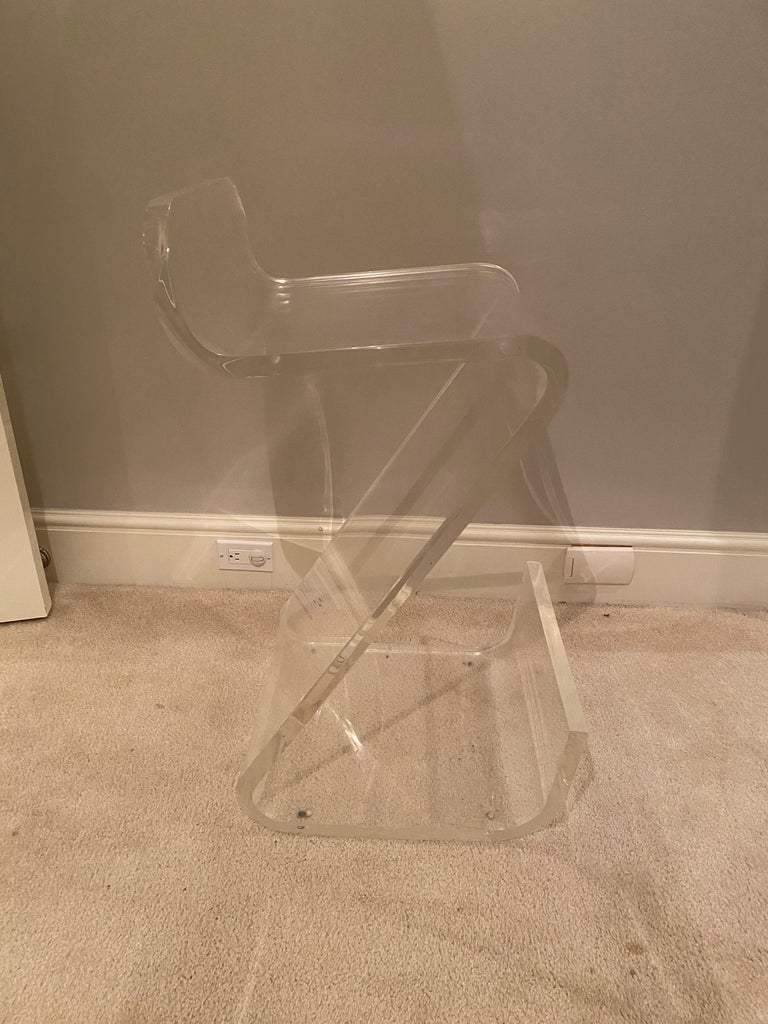 American Set of Four Thick Lucite Bar Stools by Gary Gutterman For Sale