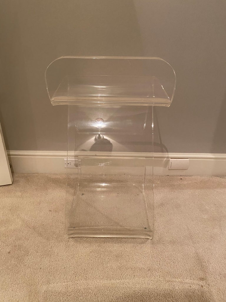 Late 20th Century Set of Four Thick Lucite Bar Stools by Gary Gutterman For Sale