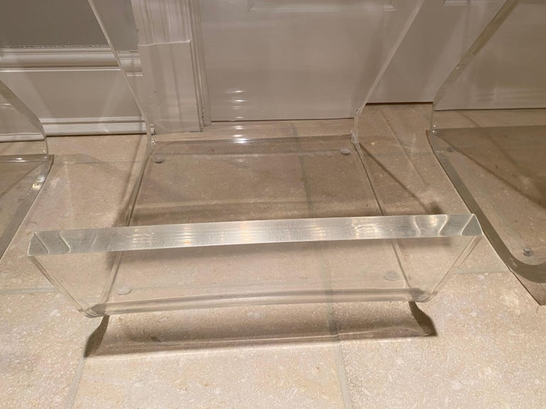 Set of Four Thick Lucite Bar Stools by Gary Gutterman For Sale 2