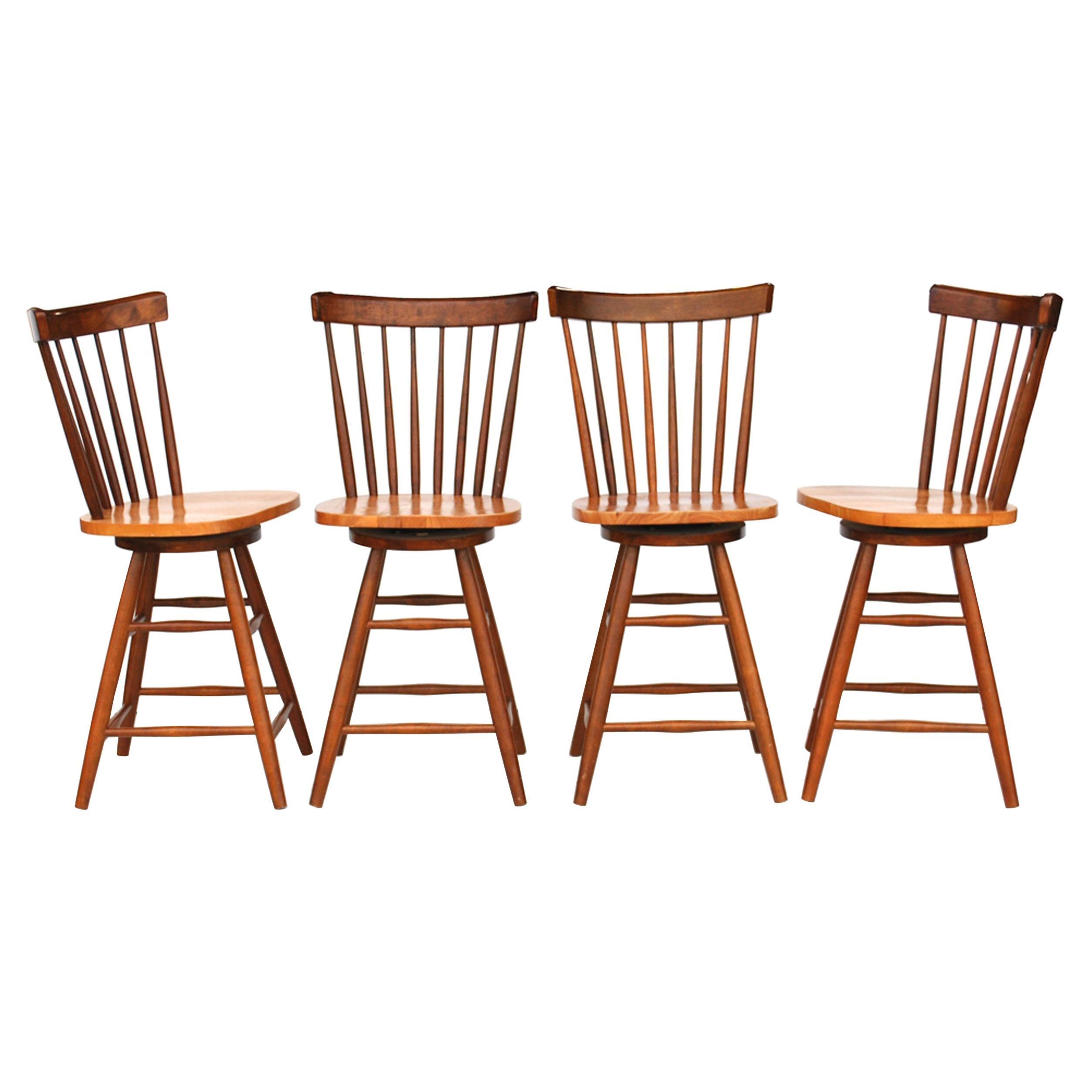Set of Four Thomasville Teak 24.5 Counter Height Stools