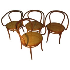 Set of Four Thonet Cafe Bent Wood Armchairs, circa 1958