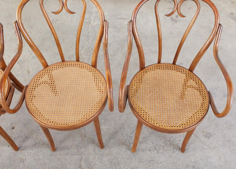 Hand-Crafted Set of Four Thonet Style Bentwood and Cane Armchairs For Sale