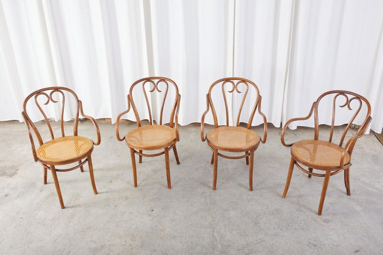 Set of Four Thonet Style Bentwood and Cane Armchairs For Sale 1