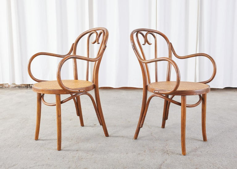 Set of Four Thonet Style Bentwood and Cane Armchairs For Sale 2