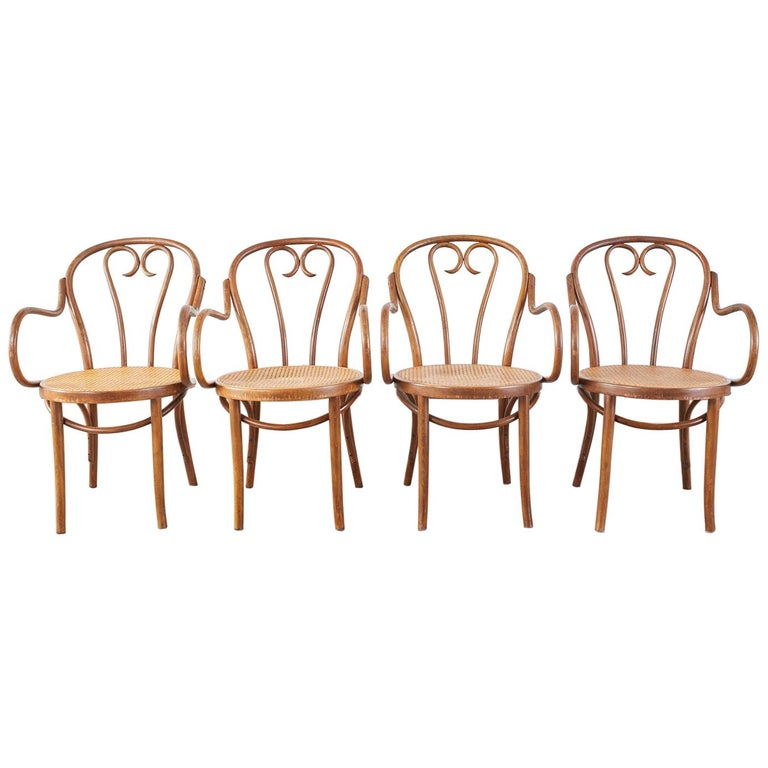 Set of Four Thonet Style Bentwood and Cane Armchairs For Sale