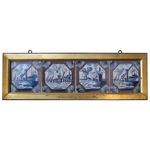 Set of Four Tiles Delftware, 18th Century, Manganese, Pottery, Tin Glaze, Mounte