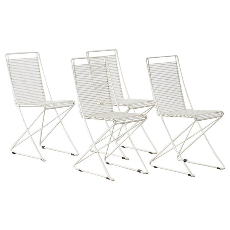 Set of Four till Behrens Kreuzschwinger Chairs for Schlubach, Germany, 1983 For Sale