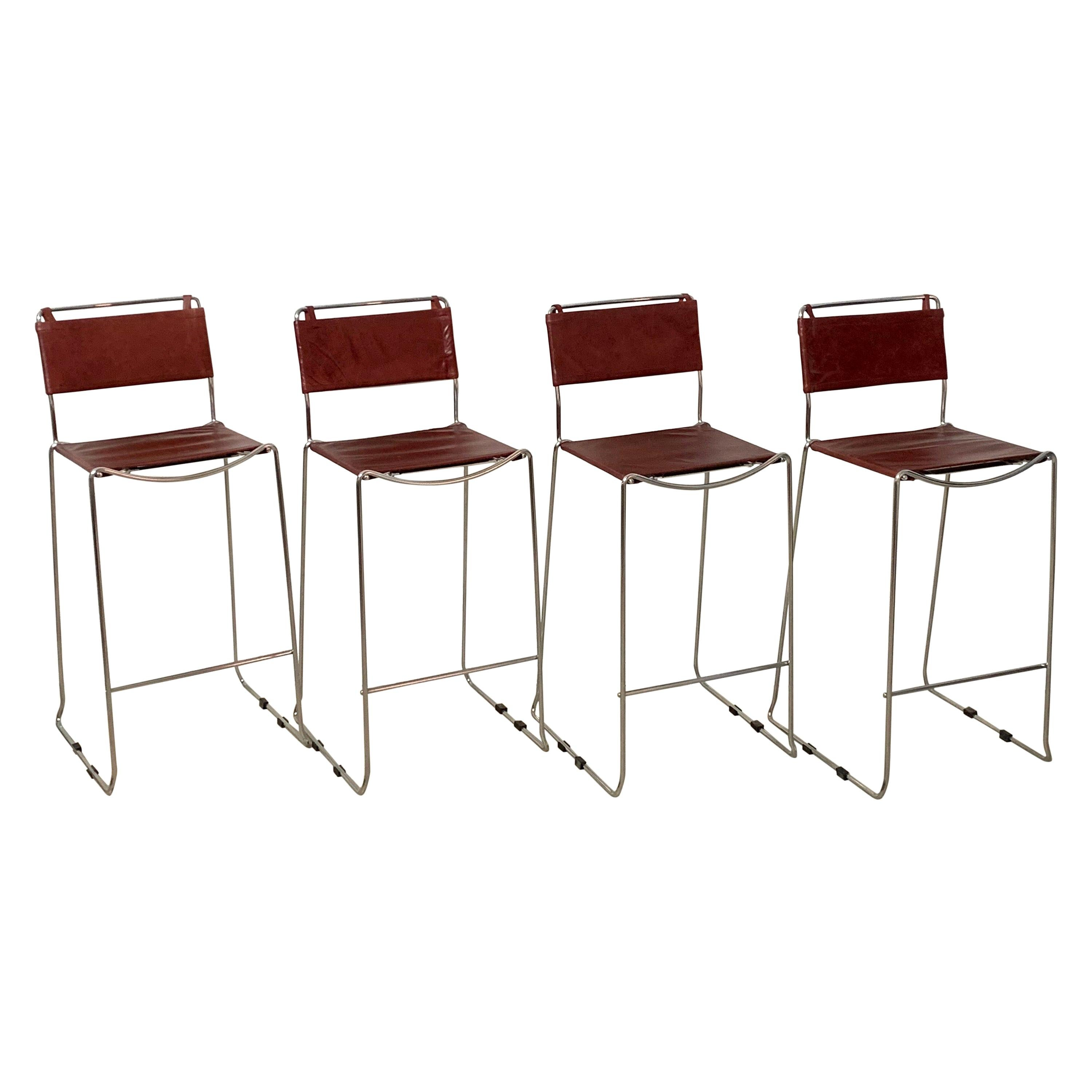 Set of Four Toyoda Hiroyuki Stacking Chrome & Ox Blood Leather Barstools for ICF
