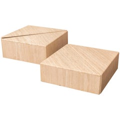 Set of Four Travertine Elements Forming One or More Coffee Tables