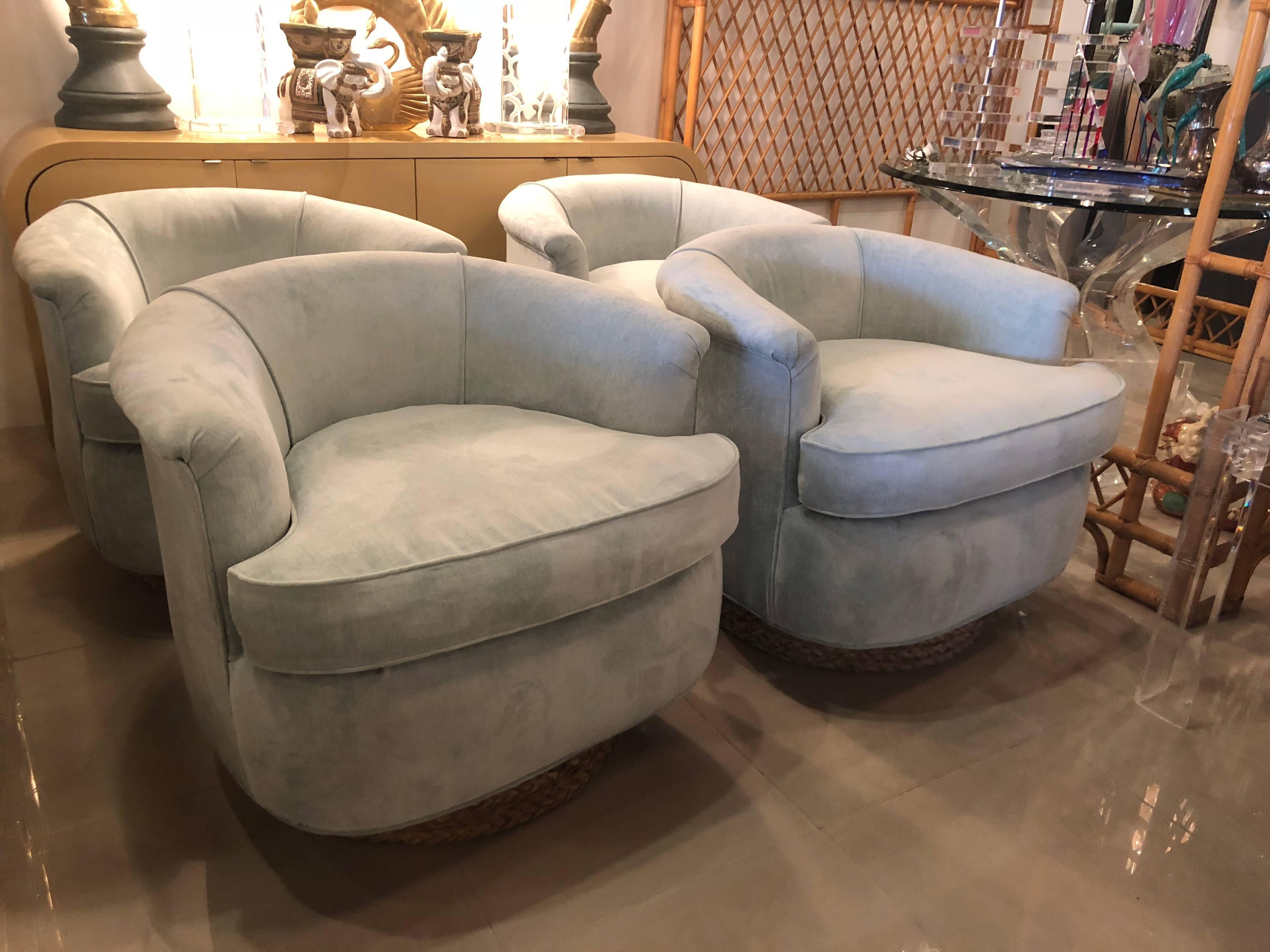 Hollywood Regency Set Of Four Tub Barrel Swivel Armchairs, Upholstered  Velvet, Seagrass Platform For