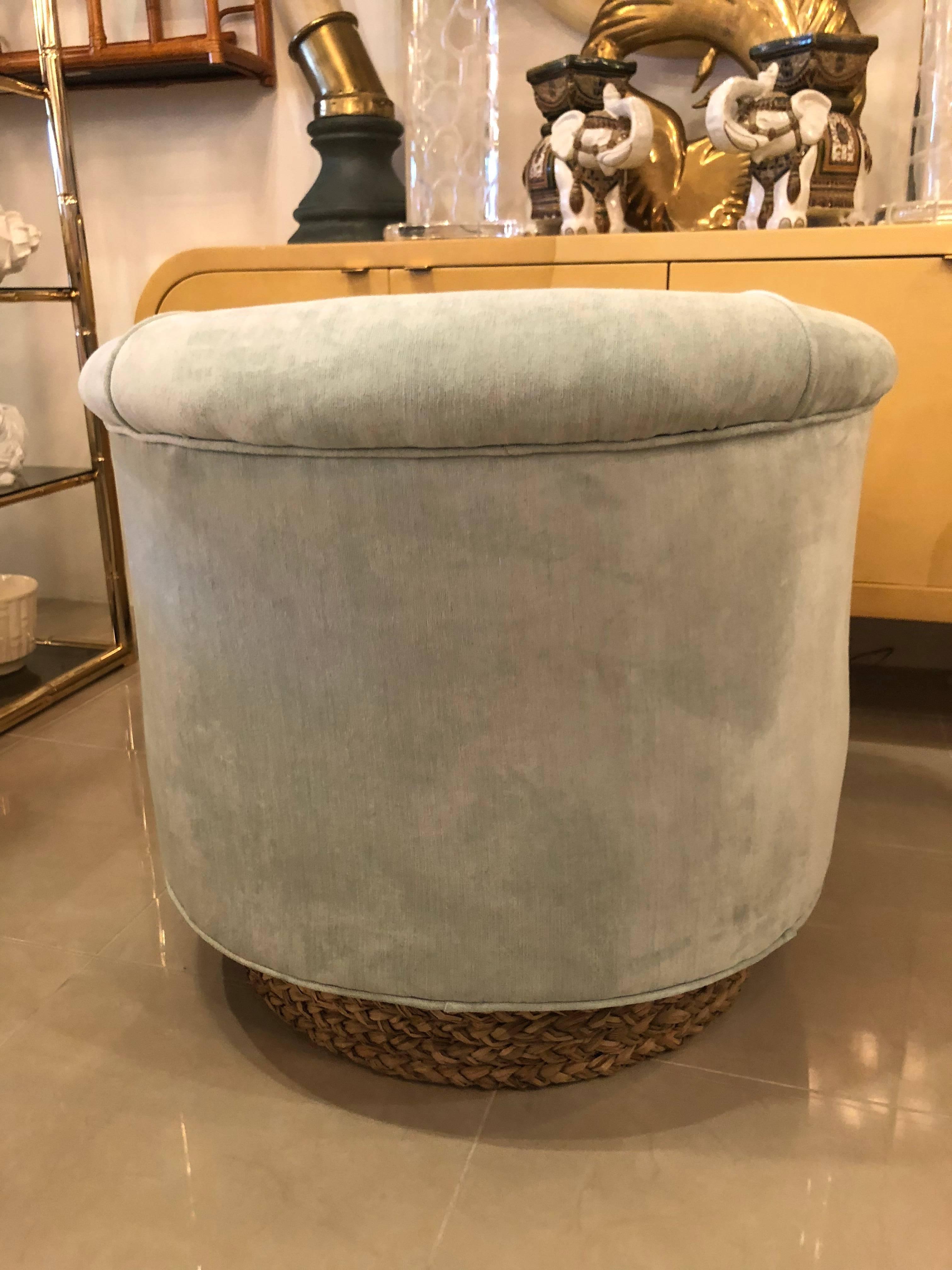 Set of Four Tub Barrel Swivel Armchairs, Upholstered Velvet ...