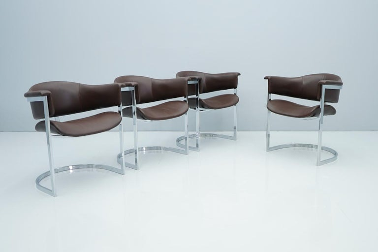 Set of Four Vittorio Introini, Chrome and Brown Leather Dining Chairs, 1970s For Sale 3