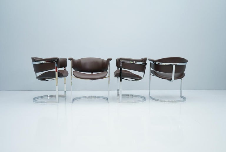 Set of Four Vittorio Introini, Chrome and Brown Leather Dining Chairs, 1970s For Sale 4
