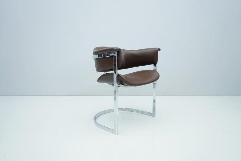 Set of Four Vittorio Introini, Chrome and Brown Leather Dining Chairs, 1970s For Sale 5
