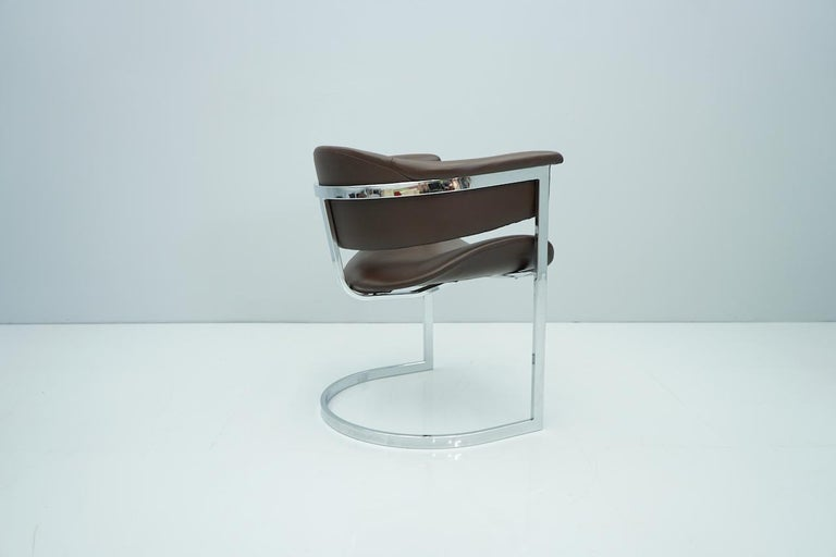 Set of Four Vittorio Introini, Chrome and Brown Leather Dining Chairs, 1970s For Sale 6