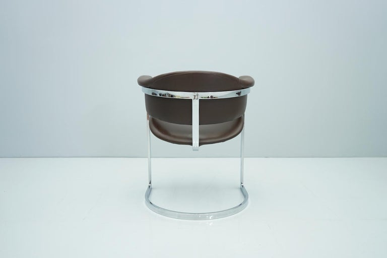 Set of Four Vittorio Introini, Chrome and Brown Leather Dining Chairs, 1970s For Sale 7