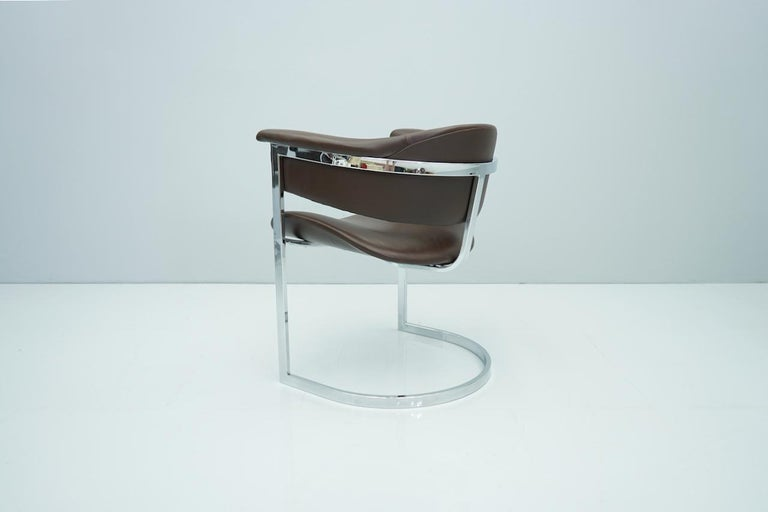 Set of Four Vittorio Introini, Chrome and Brown Leather Dining Chairs, 1970s For Sale 8