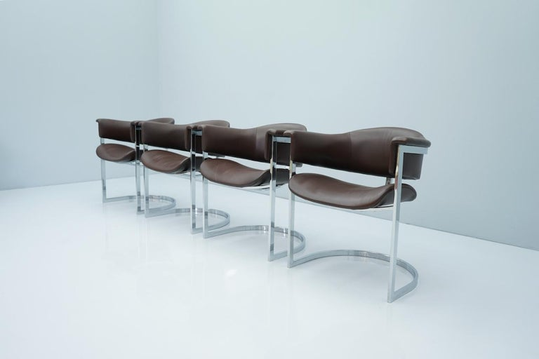 Mid-Century Modern Set of Four Vittorio Introini, Chrome and Brown Leather Dining Chairs, 1970s For Sale