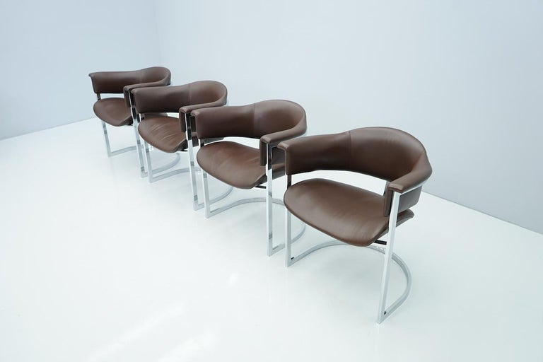 European Set of Four Vittorio Introini, Chrome and Brown Leather Dining Chairs, 1970s For Sale