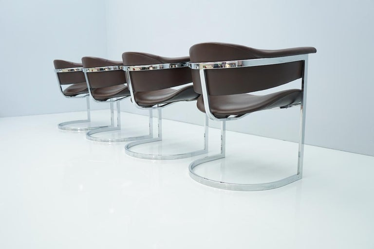 Late 20th Century Set of Four Vittorio Introini, Chrome and Brown Leather Dining Chairs, 1970s For Sale