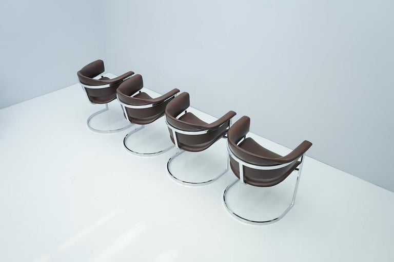 Set of Four Vittorio Introini, Chrome and Brown Leather Dining Chairs, 1970s For Sale 2