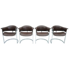 Set of Four Vittorio Introini, Chrome and Brown Leather Dining Chairs, 1970s