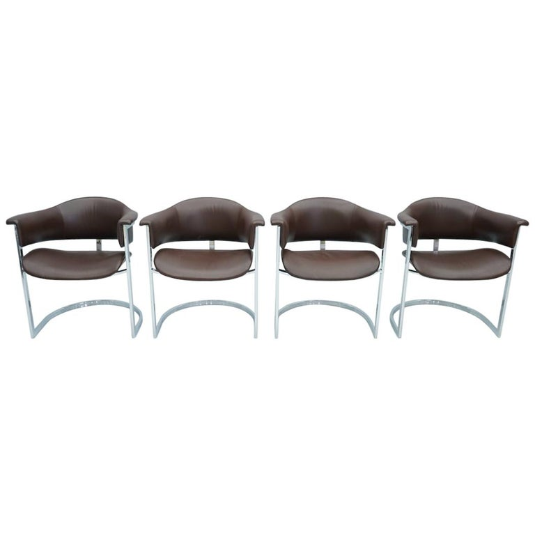 Set of Four Vittorio Introini, Chrome and Brown Leather Dining Chairs, 1970s For Sale