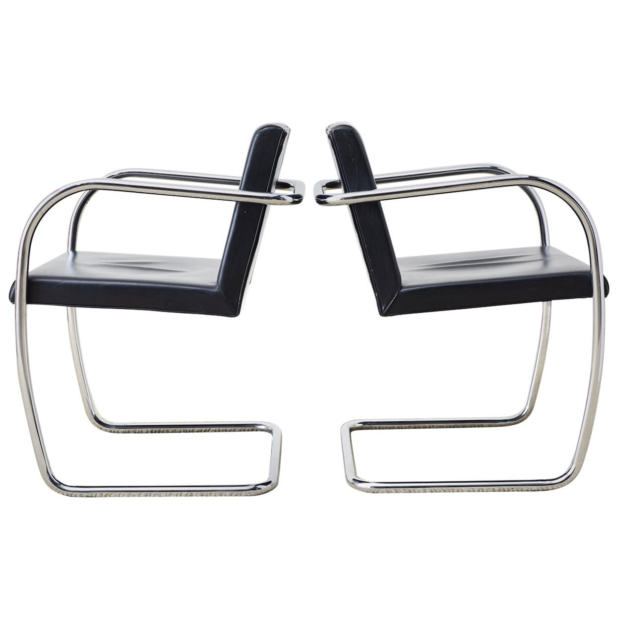 Set of Four Tubular Chrome and Leather Brno Chairs