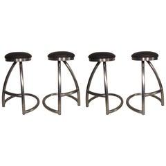 Set of Four Tubular Swivel Stools