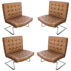 Set of Four Tufted Brown Leather Mies Van Der Rohe Tugendhat Chairs