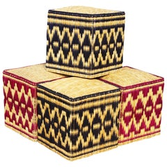 Set of Four, Two-Color Wicker Hand-Sewn Puffs