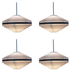 Set of Four UFO Style Midcentury Space Age Pendants, 1970s
