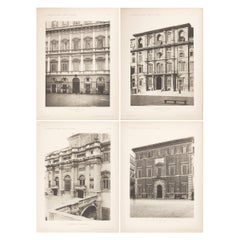 Set of Four Unframed Architectural Prints, Italy, Early 190