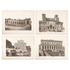 Set of Four Unframed Architectural Prints, Italy, Early 1900s