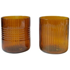 Set of Four Up-Cycled Dark Amber Color Glass Tumblers