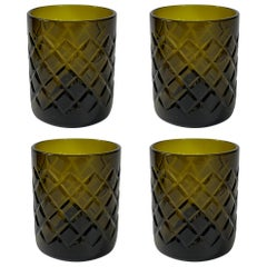 Set of Four Up-Cycled Olive Color Glass Tumblers