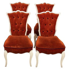 Set of Four Upholstered Hollywood Regency Style Side Chairs